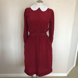 Vintage Red Peter Pan Collar Pockets Dress S/M